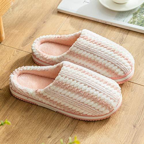 QPPQ Pantuflas de algodón, para hombre y mujer, zapatillas de otoño/invierno, zapatillas antideslizantes de algodón cálido-Rosa_5.5/6, cómodas zapatillas de algodón