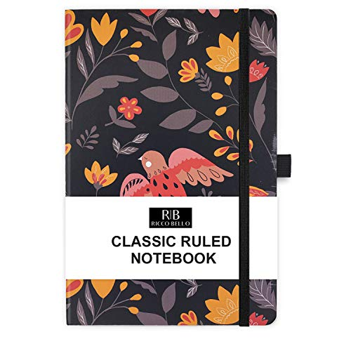 RICCO BELLO College Ruled Hardcover Journal Notebook - Pen Loop, Elastic Band Closure, Bookmark, Inner Pocket, 192 Lined Pages, 5.7 x 8.4 inches (Folk Art Flowers)