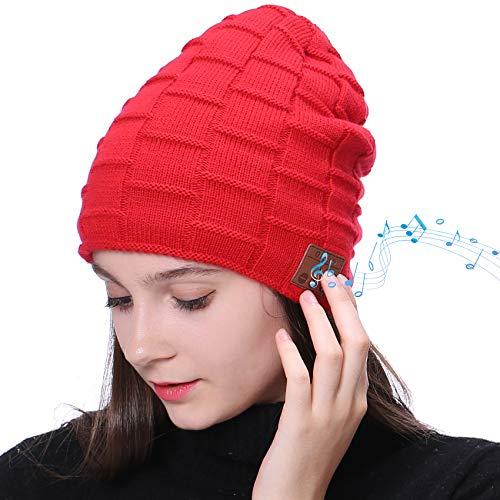 EasyULT Bluetooth Mütze, Bluetooth 5.0 Musik Strickmütze Wintermütze Warme Beanie Hut Winter Mützen für Winter Outdoor-Sport, Skifahren, Laufen, Geschenke Mützen für Damen und Herren(Rot)