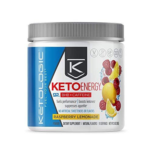 KetoLogic BHB Exogenous Ketones Powder with Caffeine | Supports Low Carb, Keto Diet & Boosts Energy, Focus | Keto Pre-Workout Supplement, Beta-Hydroxybutyrate BHB Salts | Raspberry Lemonade - 10 Serve
