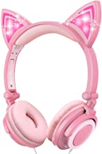 Sunvito Cat Ear Headphones, On-Ear Kids Headphone with LED Flash Wired Mode and 3.5mm Jack, 85dB Volume Control, Foldable ...