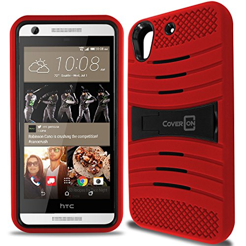 Desire 626 / 626s Case, CoverON [Titan Armor Series] Hybrid Kickstand Cover Phone Case for HTC Desire 626 / 626s - Red & Black