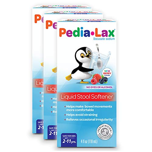 Pedia-Lax Liquid Stool Softener for Kids, Ages 2-11, Berry Flavor, 4 fl oz, 3 Pack