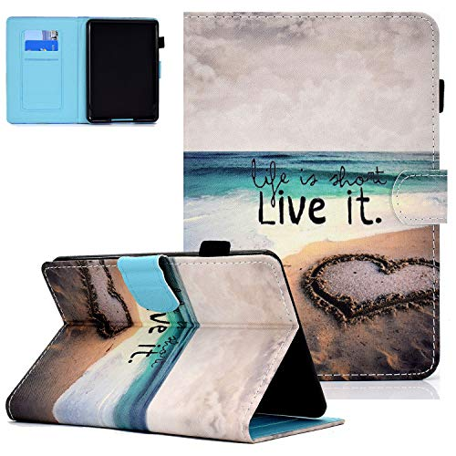 UGOcase E-Reader Case for Kindle Paperwhite 2018 (10th Generation), Folio Stand Slim PU Leather Anti-Impact Magnetic Auto Sleep Wake Card Slots Case for Amazon Kindle Paperwhite 1 2 3 4 - Love Beach
