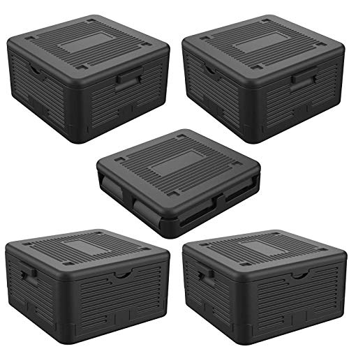 HAC24 5er Set Thermobox Klappbar 17 L Isolierbox 41x38x22cm Transportbox Faltbar Styroporbox Schwarz Warmhaltebox Kühlbox