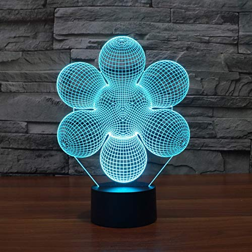 KangYD Visual Abstract Flowers 3D Night Light, LED Optical Illusion Lamp, B - Remote Black Base(16 Color), LED Lighting, Child Lamp, Office Decor Lamp, Mood Lamp, Creative Light