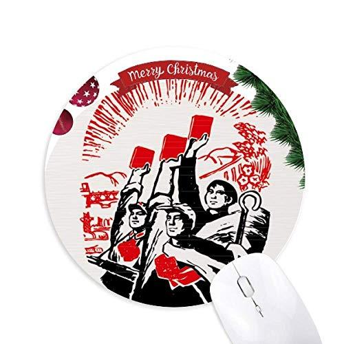 Arbeiter Bauernsoldier Wasser China Rund Gummi Maus Pad Weihnachtsbaum Mat