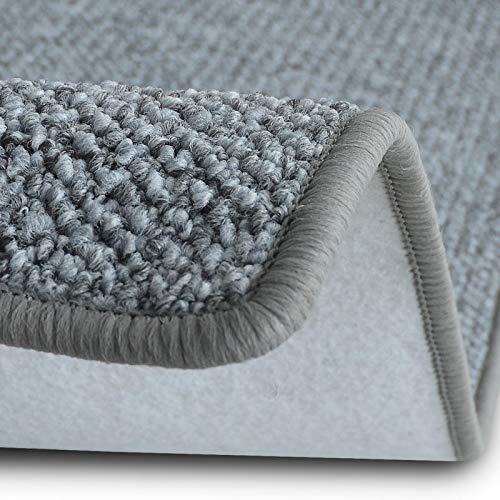 casa pura Teppich Läufer Carlton | Flachgewebe dezent Gemustert | Teppichläufer in vielen Größen | als Küchenläufer, Flurläufer | mit Stufenmatten kombinierbar (Hellgrau - 80x350 cm)