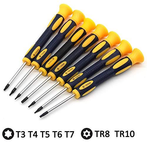 Newseego トルクスドライバーセットT3 T4 T5 T6 T7 T8 T10 精密 ヘックスローブ レンチセット いじり止めネジ対応 星型 特殊ドライバー 磁石付き Mac book HDD解体 ナイフ修理工具-7本組