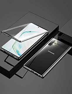KumWum Galaxy Note10 Case Aluminum Bumper Magnetic Adsorption Front and Back 9H Tempered Glass 360° Full Body Protection Cover for Samsung Note 10, Black