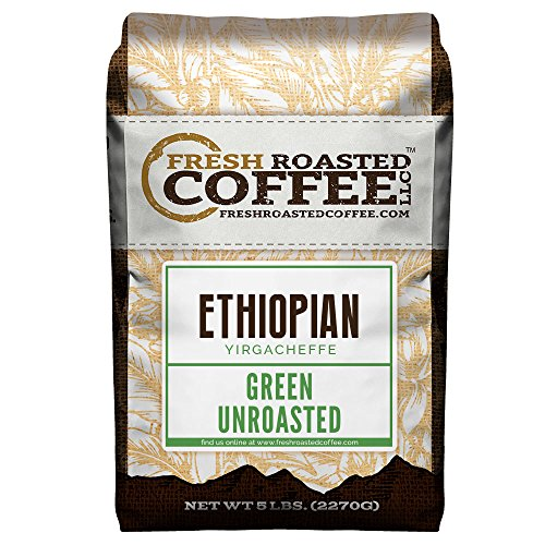 Fresh Roasted Coffee LLC, Green Unroasted Ethiopian Yirgacheffe Kochere Coffee Beans, 5 Pound Bag