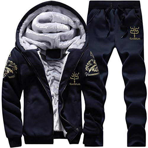 M.YAN Herren Kapuzenpullover Mit Reißverschluss Langarm Kapuzenjacke Winter Warm Fleeceinnenseite Sweatshirt Plus Dicke Fleecejacke Sweatjacke Mit Kapuze  Cotton Hoodies Pants Set H M