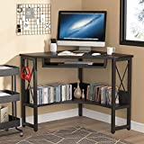 Tribesigns Computer Corner Desk, Triangle Desk Corner Writing Desk Laptop Gaming Table with Keyboard Tray & Storage Shelves Home Office Workstation for Small Space (Black)