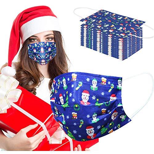 50pcs Christmas Print Disposẵble Face Mẵsk New Year Gifts for Women, FDẴ Certified Non Wоvеn Breạthаble Women Black Fàce Màsks for Còrònâvírús Protȩctịoñ