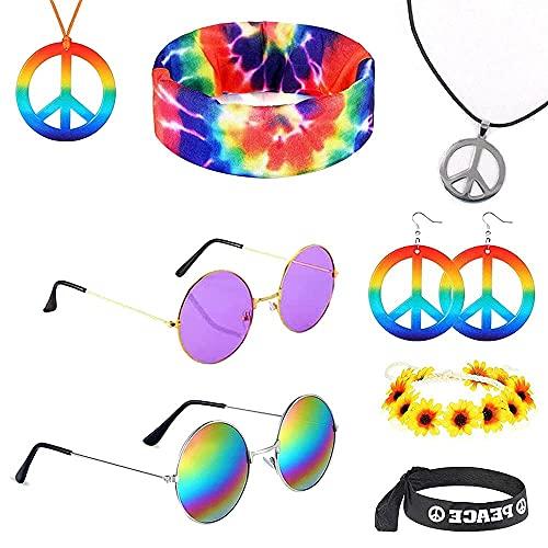 Juego de accesorios de disfraz hippie, 8 unidades, redondos, estilo hippie, diademas de girasol, collar de señal de paz y diadema con tinte arco iris, accesorios de vestir hippie para fiestas