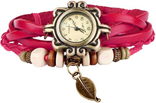 Bohemian Style [Retro] Handmade Leather [Tree Leaf] Wrist Watch. Beautiful, Fashionable [Luxury] & Stylish [Weave Around] Wrap Watch Bracelet for Women, Ladies, Girls- Rose
