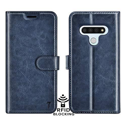 Njjex LG Stylo 6 Case, LG Stylo 6 Wallet Case, RFID Blocking Luxury PU Leather Folio Flip ID Credit Card Slots Holder [Kickstand] Magnetic Closure Phone Cover for LG Stylo 6 2020 [Dark Blue]