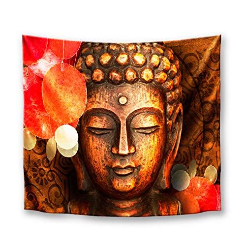 DekoArte TP11 - Tapiz Moderno De Pared Impresión Artística Digitalizada | Tela poliéster 100% decoración para Tu Salón o Dormitorio | Estilo Buda Zen Colores Rojo | 150 x 130 cm