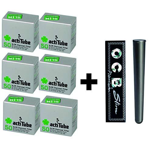 actiTube kogu Aktivkohlefilter Slim 300/6 x 50 Stück, 7,1 mm Plus gratis Jointhülse von kogu und OCB Slim Papers