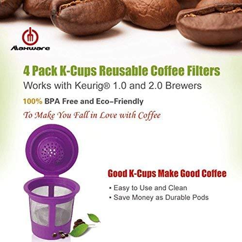 Maxware 4 Reusable Refillable Coffee Filters For Keurig Family 2.0 and 1.0 Brewers Fits K200, K300/K350/K360,/K450/K460, K500/K550/K560 (Purple, 4)