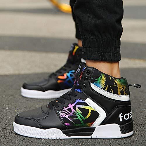WFQGZ Zapatos Casuales de caña Alta Zapatos Planos de Tablero de...