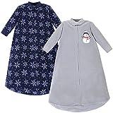 Hudson Baby Unisex Baby Long Sleeve Fleece Sleeping Bag, Navy Snowman, 0-9 Months