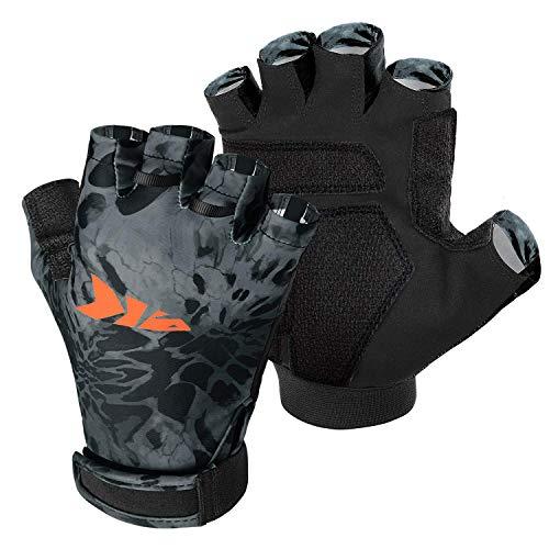KastKing Gil Raker Gloves UPF50+ Fishing Gloves UV Protection Gloves Sun Gloves for Men Or Women for Fishing, Outdoor, Kayaking, Rowing, Sailing, Canoeing, Hiking, Biking - Blackout Prym1, Medium
