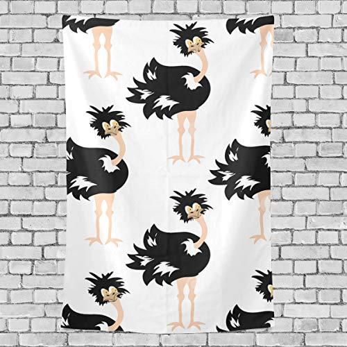 MONTOJ Bettlaken, niedliches Tiermotiv, afrikanischer Strauß, Wandkunst, Wandbehang, vertikal, Polyester, 1, 90x60(in)