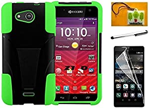 Luckiefind Case Compatible with Kyocera Hydro Wave C6740 / Air C6745, Hybrid Dual Layer Cover Case with Kickstand (Stand Green)