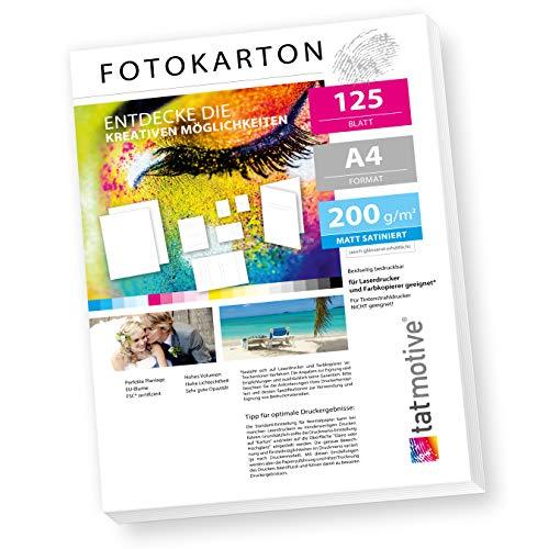 TATMOTIVE FA4200M125 Fotokarton Fotopapier 200g matt weiß/Laserdrucker/DIN A4 / Beidseitig bedruckbar / 125 Blatt