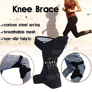 Genouillère avec force de rebond à ressort Protecteurs de genou Réduit la charge de la genouillère pour les exercices, la marche, l'alpinisme, la football, la course, le basket-ball, le sport, 1 paire