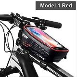 AEWB Bolsa de marco de la bicicleta impermeable bolsa de bicicleta marco frontal tubo superior de la bolsa de ciclismo reflectante 6.5in teléfono caso de la pantalla táctil bolsa mtb accesorios de bicicleta, color Modelo 1 Rojo, tamaño About 180 x 105 x 83 mm