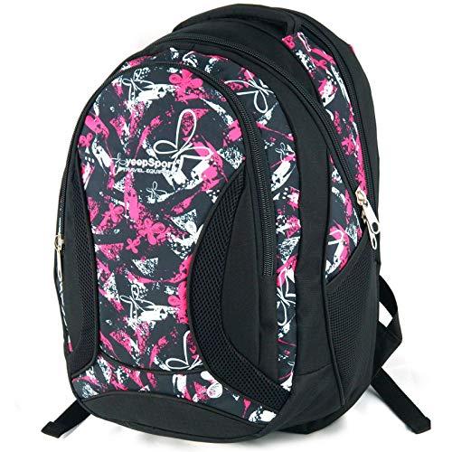 YeepSport Schul Rucksack Ranzen Mädchen Junge Sport Tasche 40 Liter groß leicht stabil 30085 Butterfly pink