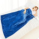 Electric Heated Blanket Throw Flannel Sherpa Fast Heating 50'x60', 10 Heating Levels & Up-to-9-Hours Auto-Off Timer & LED Display, for Home Office Use, Machine Washable, ETL Certified, Mia&Coco, Blue