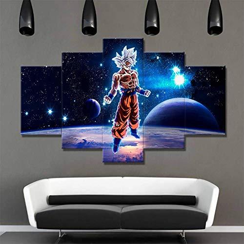 CXDM Lienzo Mural Arte Fotos Sala de Estar decoración Marco 5 Piezas de Dibujos Animados Dragon Ball Z Goku Pinturas HD Impresiones Super Saiyajin Poster,noframed,size30