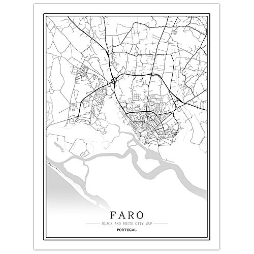ZWXDMY Impresión De Lienzo,Portugal Faro City Map Modern Black White Art Minimalist Painting Poster Mural Living Cafe Room Vertical Decoración Simple, 70 × 100Cm