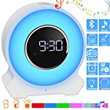 EVISTR Bedroom Bluetooth Speaker Alarm Clock - Touch Control Bedside Night Light Music Player Wireless Bluetooth Speaker with Melody Light Support Hands Free Phone Call, TF Card, Aux