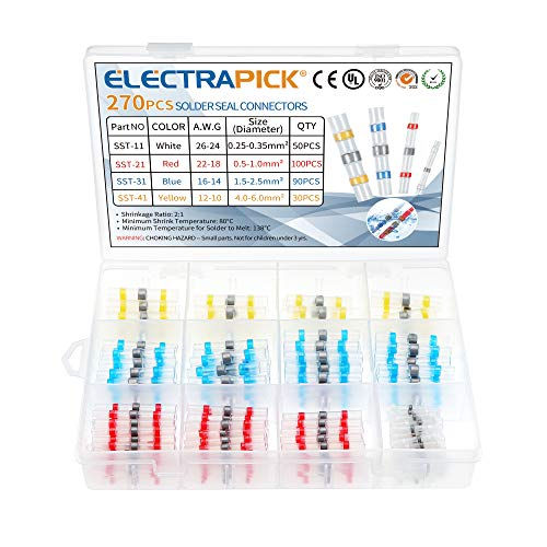 electrapick Lötverbinder 270tlg Kabelverbinder mit Transparent Wärmeschrumpfschlauch, Wasserdicht Sortiment Stoßverbinder, Weiß Rot Blau Gelb