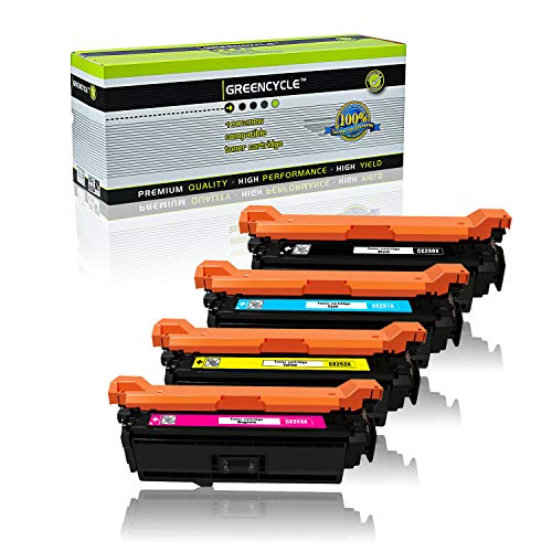 GREENCYCLE Compatible Toner Cartridge Replacement for HP 504X 504A CE250X CE251A CE252A CE253A (Black,Cyan,Magenta,Yellow, 4-Pack)