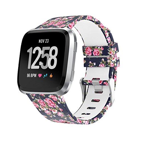 Amawell for Fitbit Versa Band,Silicone Adjustable Replacement Sport Strap Printed Bands with Classic Buckle for Fitbit Versa Fitness Smart Watch (Floral Pattern-3, Large)