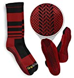Grip Tread Socks Non Slip delle Donne Athletic Socks battistrada per Arti Marziali & Pilates 1 Pack Large Rosso e Nero