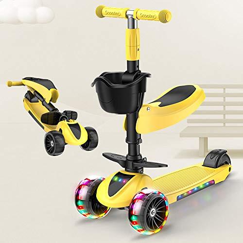 ZYHA Patinete de 3 ruedas, Micro Scooter 3 en 1 con asiento extraíble, ideal para niños y jóvenes de edad 3 años, altura ajustable, ruedas de LED para niños