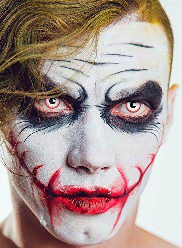 aricona Farblinsen – deckend weiß – farbige Kontaktlinsen ohne Stärke – Zombie Night Augenlinsen für Halloween, bunte 12 Monatslinsen - 4