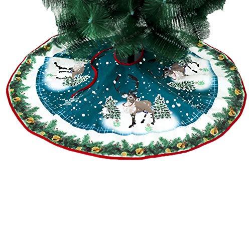LONTG - Gonna per albero di Natale, motivo Babbo Natale, colore: rosso, blu, albero di Natale, decorazione per feste di Natale, 90 cm