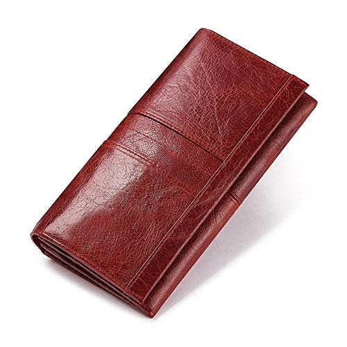 Yuhang Mme Cuir Forfait De Téléphone Portefeuille d'embrayage Titulaire du Passeport Titulaire De La Carte Femme Et Pratique (Color : Red L, Size : M)