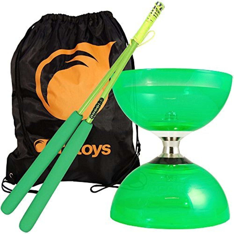 Green Cyclone Quartz 2 Diabolo & Green Superglass Diablo Sticks Set with FT Bag by Firetoys Diabolo