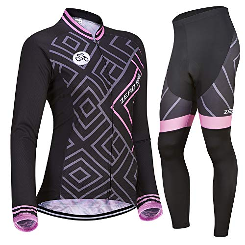 Damen Atmungsaktiv Schnelltrocknend Fahrradtrikot Set, Outdoor Lange Ärmel Radsport-Shirt + 3D Gel Gepolsterte Fahrradhose (0030, L)