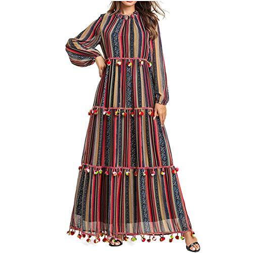 QINJLI damesjurk, casual lange mouwen losse ballen meerlagige plooien moslimische roben stijlende jurken Large