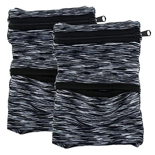 2X Sport - Muñequera deportiva con cremallera para hombre y mujer, color negro