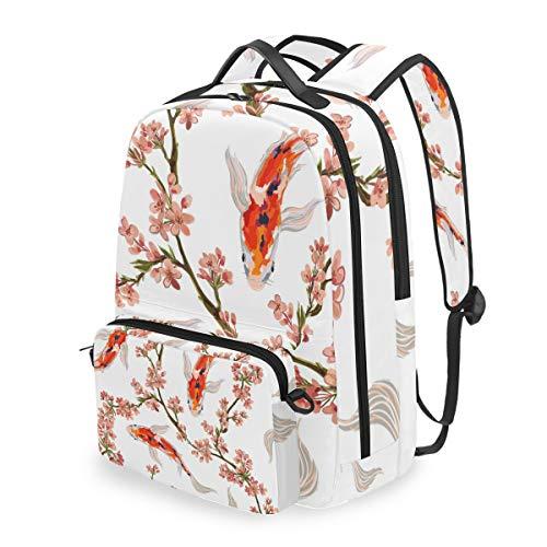 QMIN Rucksack mit japanischem Fisch und Kirschblüte, abnehmbare Schul-Büchertasche, Reise, College, Tagesrucksack, Reißverschluss, Riemen, Organizer, für Jungen, Mädchen, Damen, Herren